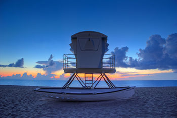 Sunrise Palm Beach Island Florida Lifeguard Tower Boat